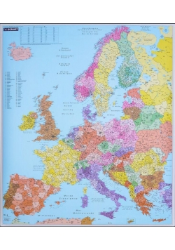 Europa. Mapa ścienna. Kody pocztowe 1:3,4 mln