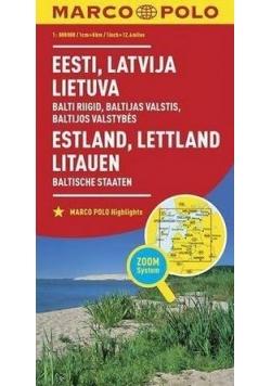 Mapa ZOOM System.Estonia,Łotwa,Litwa plan miasta