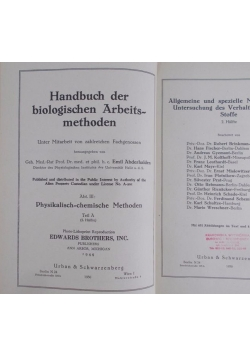 Handbuch der biologischen Arbeitsmethoden, 1944r