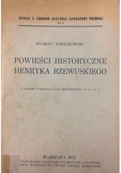 Powieści historyczne Henryka Rzewuskiego