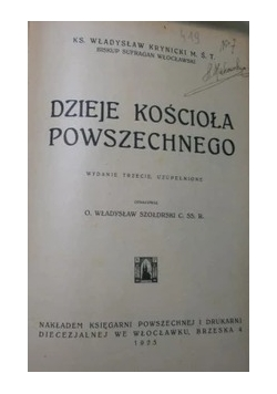 Dzieje kościoła powszechnego, 1925 r.