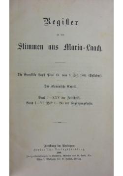 Register zu den Stimmen aus Maria-Laach, 1886r.