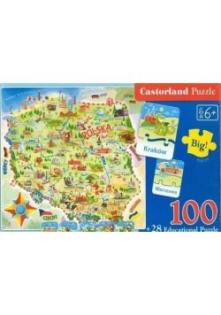 Puzzle 100+28 Mapa Polski CASTOR