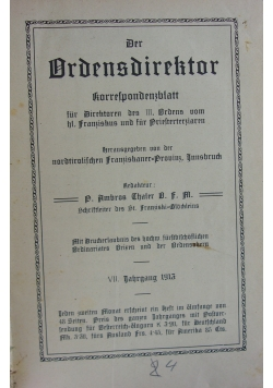 Der Ordensdirektor, 1913 r.