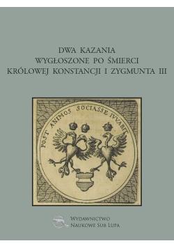 Dwa kazania wygłoszone po śmierci królowej Konstancji i Zygmunta III
