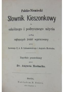 Słownik kieszonkowy Polsko-Niemiecki, 1878r.