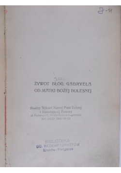 Żywot Błog. Gabryela od Matki Bożej Bolesnej, 1911 r.