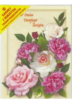 Karnet składany 3D - Bukiet różowych róż