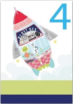 Karnet B6 brokat z kopertą Urodziny 4 chłopiec