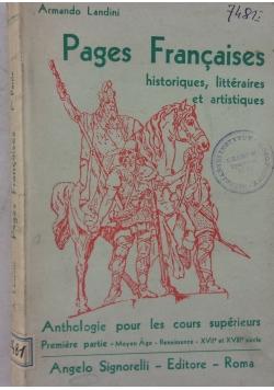 Pages Francaises historiques, litteraires et artistiques