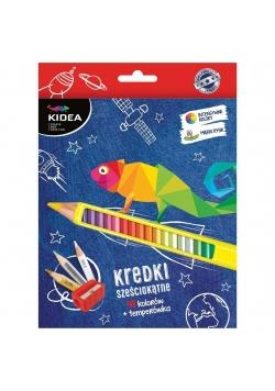 Kredki sześciokątne 48 kolorów+ temperówka KIDEA