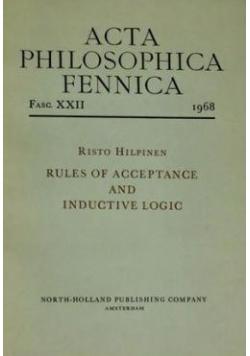 Acta philosophica fennica, Fasc. XXI