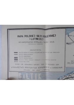 Mapa polskiej sieci kolejowej i lotniczej, 1946r.