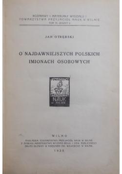 O najdawniejszych polskich imionach osobowych, 1935 r.