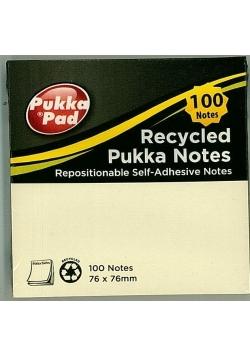 Karteczki samoprzylepne 76x76mm żółte PUKKA