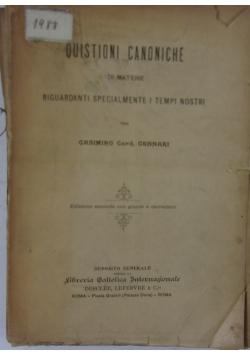 Quistioni canoniche, 1908 r.