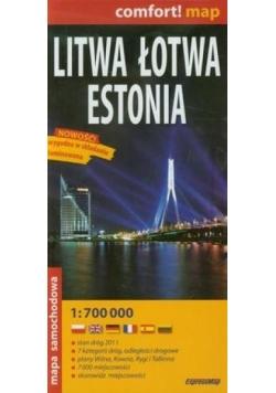 Comfort!map Litwa Łotwa Estonia 1:700 000 mapa