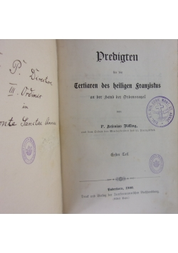 Predigten fur die Tertiaren des heiligen Franzistus, 1900 r.