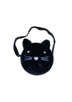 Torebka na ramię pluszowa czarny kot