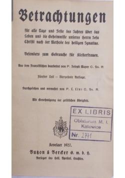 Betrachtungen, 1927r.