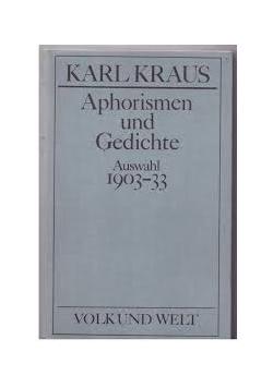 Aphorismen und Gedichte Auswahl 1903-33