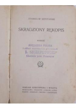 Skradziony rekopis , 1925