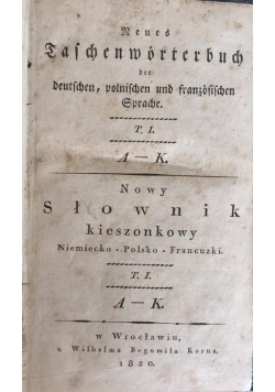 Nowy słownik kieszonkowy Niemiecko-Polsko-Francuski, 1820 r.