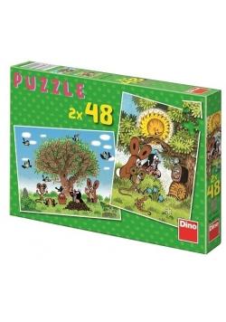 Puzzle 2x48 Lato z Krecikiem DINO