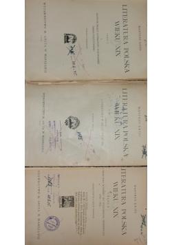 Literatura Polska wieku XIX , zestaw 3 książek