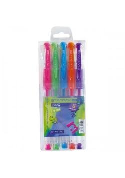 Długopis żelowy fluo z gripem 5 kolorów