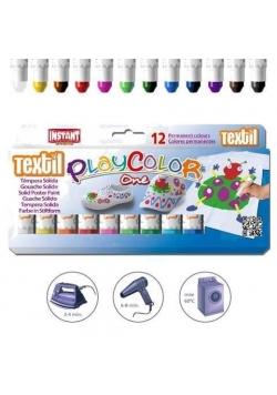 Farby w sztyfcie Textil One 12 kolorów PLAYCOLOR