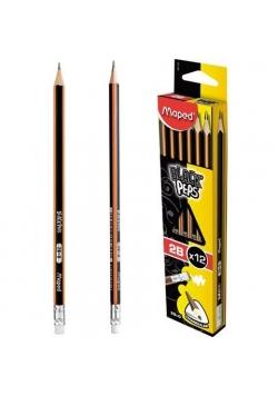 Ołówek z gumką Blackpeps 2B (12szt) MAPED