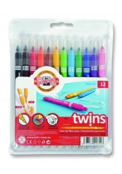 Flamastry Twins dwustronne 12 kolorów