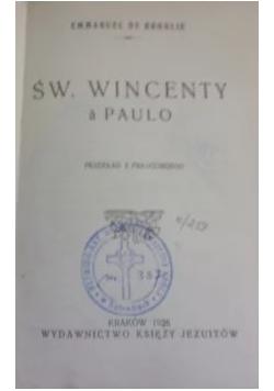Święty Wincenty A Paulo, 1926 r.