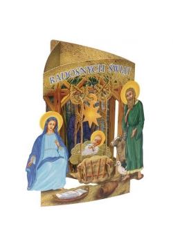 Karnet składany 3D - Radosnych Świąt (wz 6354)