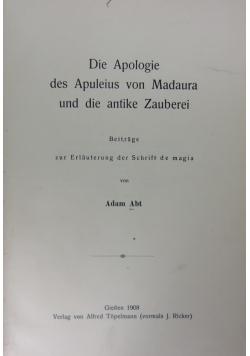 Die Apologie des Apuleius von Madaura und die antike Zauerei,1908r.