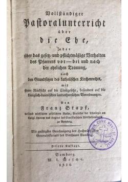 Vollstandiger pastoral unterricht uber die ghe, 1824 r.