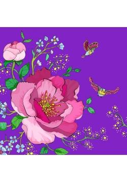 Karnet Swarovski kwadrat CL0602 Kwiaty fiolet