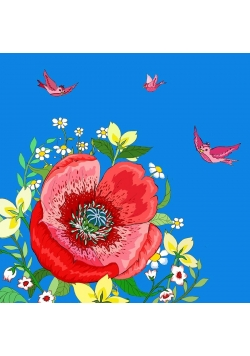 Karnet Swarovski kwadrat CL0607 Kwiaty niebieski
