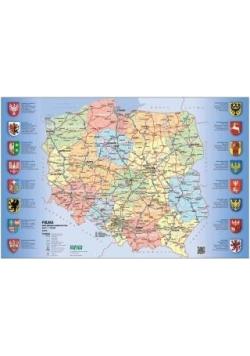 Mapa drogowo-administracyjna Polski. Podkladka...