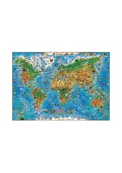 Mapa ścienna dla dzieci. Zwierzęta świata (listwa)