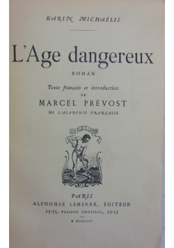 L'Age dangereux,1811r