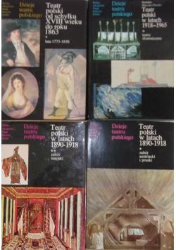 Dzieje teatru polskiego, zestaw 4 książek