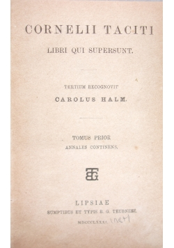 Cornelii taciti, 1881r.