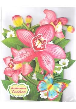 Karnet składany 3D - Kwiaty i motylek