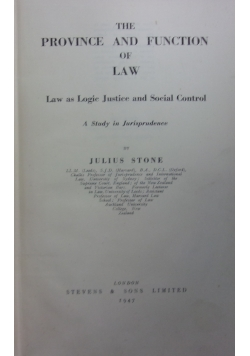The province and funcion of law,1947r