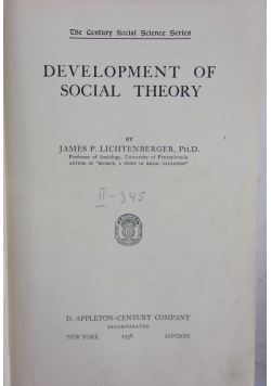 Development of social theory, 1938 r.
