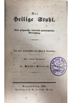 Der heilige stuhr, 1838 r.