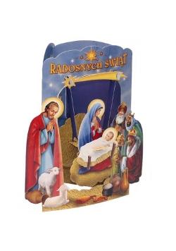 Karnet składany 3D - Radosnych Świąt (wz 6357)
