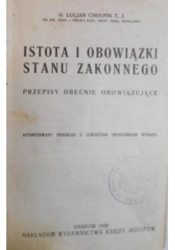 Istota i obowiązki stanu zakonnego 1930 r.